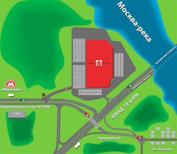 """...внутренняя сторона (в районе Бесединского моста), ТЦ  """"Южные Ворота """" линия Ф22 , павильон 9. Схема проезда на склад."""